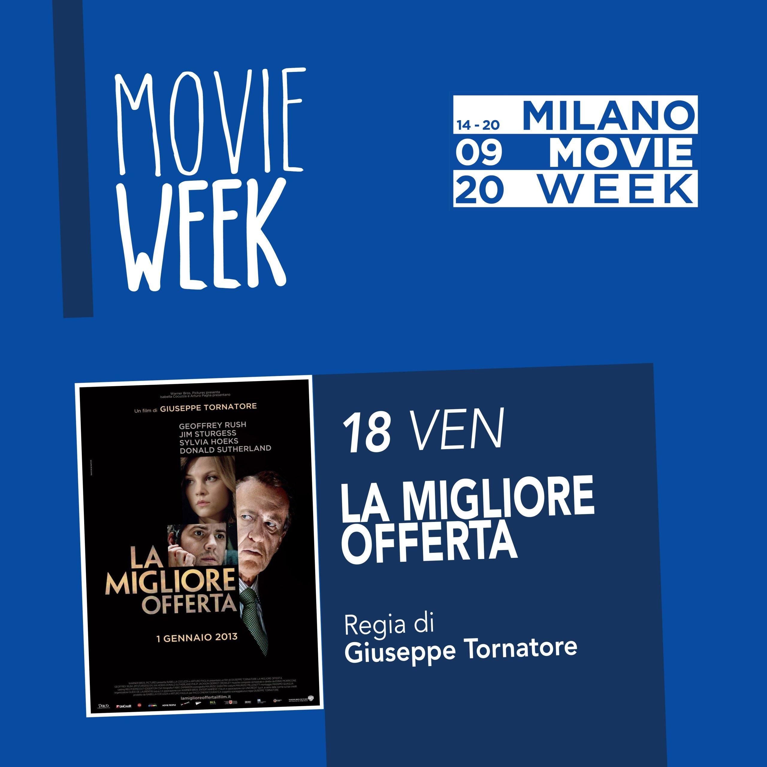 Movie Week La miglior offerta. Omaggio a Morricone. Proiezione al Centro Asteria